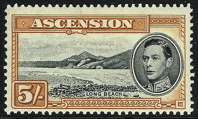 SG 46a ASCENSION 1944 - 5/- BLACK & YELLOW-BROWN (perf. 13) - MOUNTED MINT