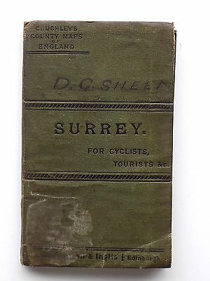 Cruchley Gall Inglis Surrey Antique Folding Map c1890 Cary Old Vintage Railways