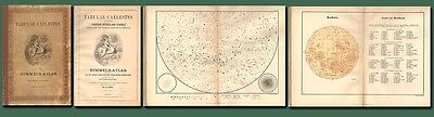 100 year-old German TABULAE CAELESTES-Sky Atlas/8 Star Maps/Moon Map/Free Ship
