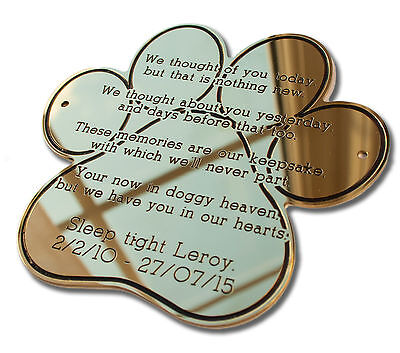 "8"" Paw Shape Solid Brass Plaque/Name plate pet memorial. Deep Engraving"