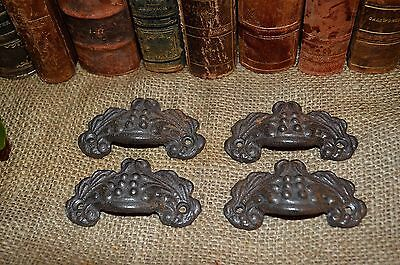 Antique French Silver Cast Iron Bin Cup Pulls Handles Set of 4