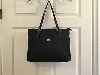 Women's Tommy Hilfiger Black Leather And Material Tote Bag