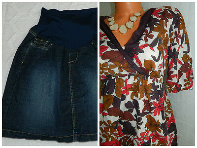 MOTHERHOOD MATERNITY X-Large XL 14 16 Skirt TUNIC Lot of 2 OUTFIT Floral CAREER
