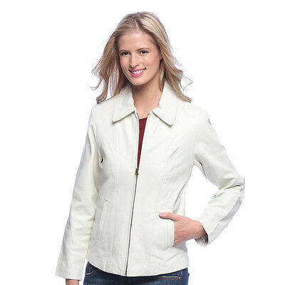 women's white leather jacket zip-out liner size Large (size 10)
