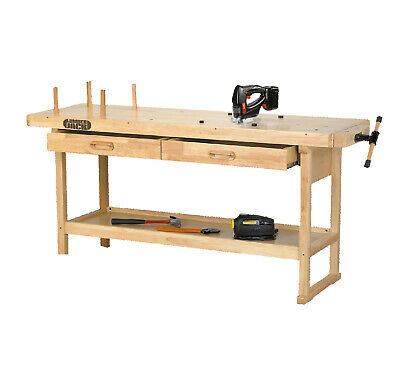 Lumberjack WB1620 Heavy Duty Solid Wooden Woodworking Work Bench 2 Drawers Vice