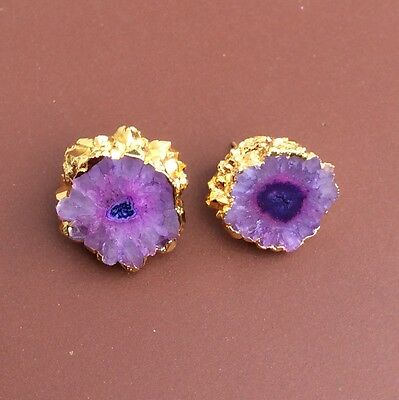 Purple color natural druzy agate gold stud earrings
