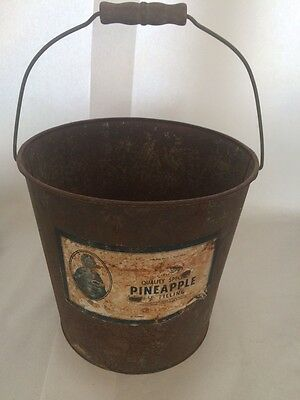 Antique w/ Advertisement Pineapples Pie Fill bucket pail with wooden handle