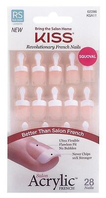 "Kiss Salon Acrylic Glue-on Real Short Length ""Power Play"" 28 French Nails"