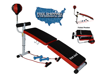Sit Up Bench Curved Ab Incline Abdominal Crunches + Speed ball + Dumbbell New