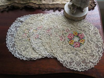 Antique Tambour Lace Doily Petit Point Embroidery Silk Center Cocktail Round Lot