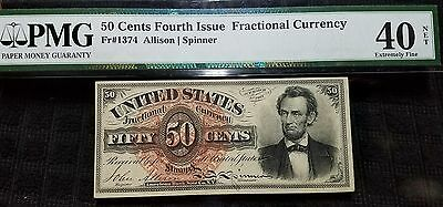 """1869-75 50 Cent Fractional Currency Fr1374 """"lincoln"""" Xf 40"""