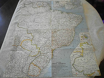 1960 Vintage Map Of Eastern South America National Geographic