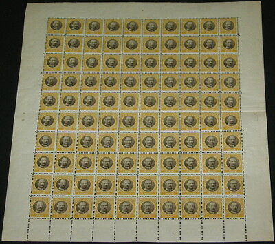 DANISH WEST INDIES #50 50Bit Fred VIII, Complete sheet of 100 plate #4, NH
