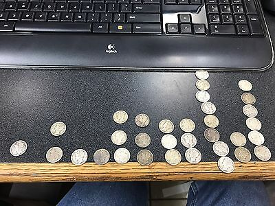Silver dimes lot of 33 1930s