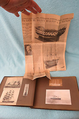 Vintage Scrap Album Ship Postcards Cuttings Clipper Liner