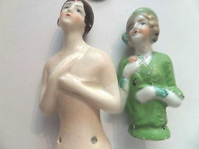 2 Vintage Porcelain Half Doll for Pin Cushion one japan
