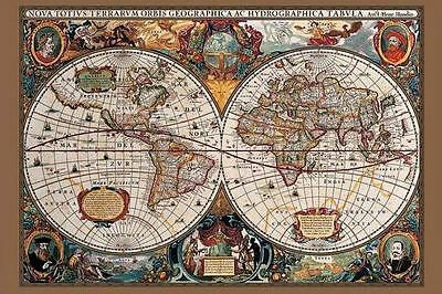 17th Century World Map : Gold Ink - Maxi Poster 91.5cm x 61cm new and sealed