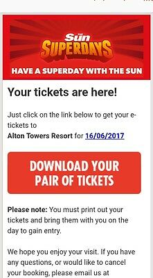 Alton Towers tickets (x2)