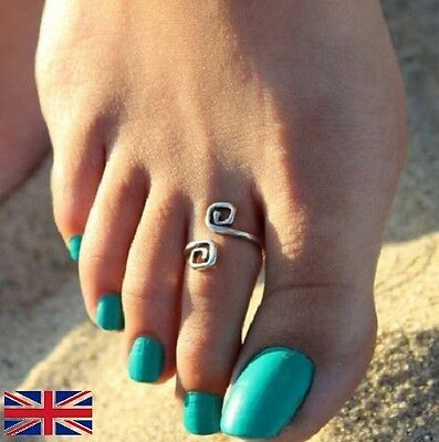 Women's Adjustable Toe Ring Antique Silver Metal Foot Beach Jewelry