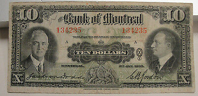 1935 Bank Of Montreal Canada Ten10$ Dollar Bank Note