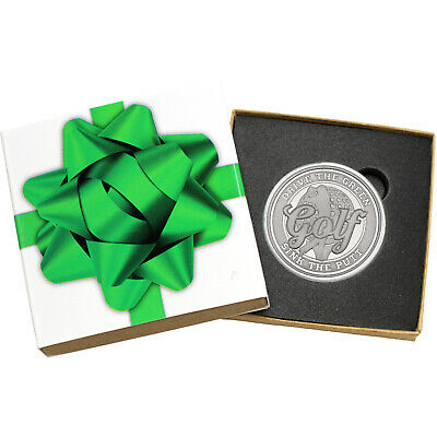 Golf Drive the Green, Sink the Putt 1oz .999 Silver Med (Green Bow Box)