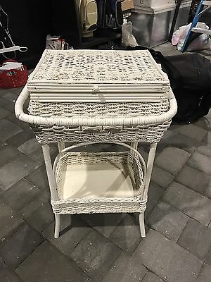 Antique Wicker Sewing Stand Basket