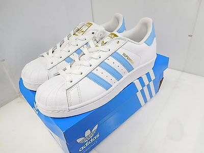 adidas Originals Women's Superstar Casual Shoes Size 8.5 US White/Blue