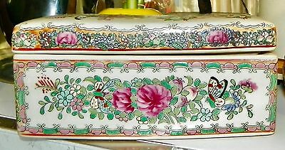 Oriental Rectangle Ceramic Box Hand Painted Flowers Butterflies Signed on Bottom