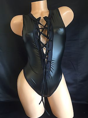Exotic Dancer Stripper Black Wet Look Lace Up Thong Romper Dancewear