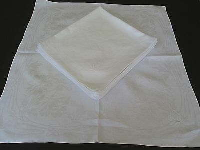 "14 Antique Double Damask Linen Banquet Napkins Monogram ""l J"".peonies..28"" X 26"""
