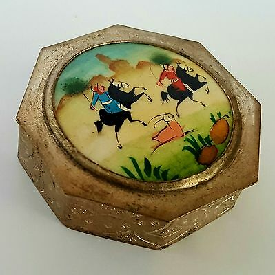 Chinese Silver Shard Trinket Box with Hand Painted Warriors