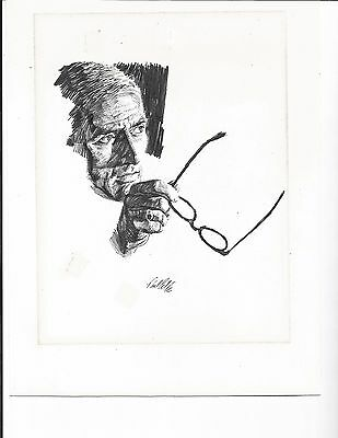 """*rare* ~Original [ Pencil Drawing]   By Paul Calle ~"""" Man Holding Glasses"""""""