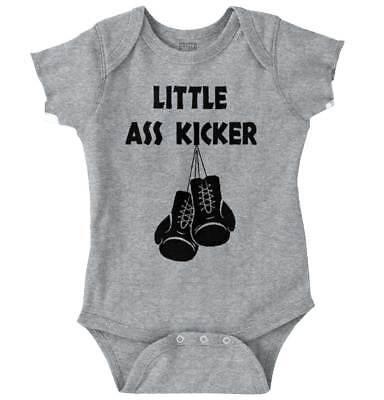 Little Ass Kicker Funny Shirt | Cool Baby Clothes Gym Boxing Romper Bodysuit