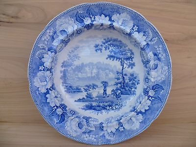 Antique Old Large Size Early Blue & White Serving Bowl, China Dish (E839)