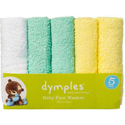 NEW Dymples Baby Face Washer 5 Pack