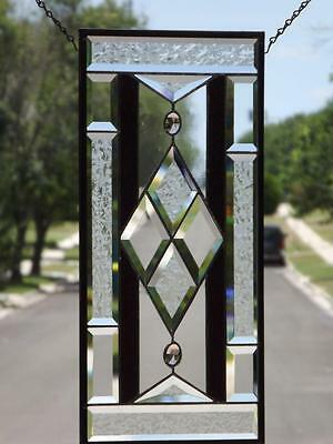 """*CENTERED *Beveled Stained Glass Window Panel • 21 1/2""""X10 1/2""""(55 x27 Cm)"""