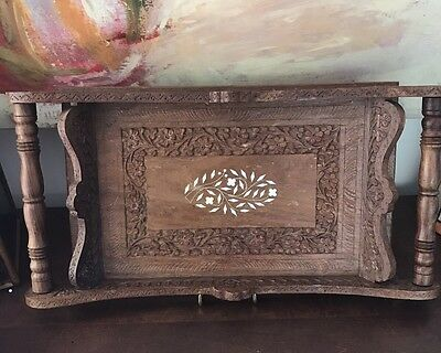 """Vintage Wood Carved Serving Tray-Inlay W/Handles 19"""" X 10"""""""