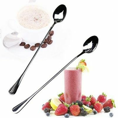 2PC Long Handle Stainless Steel Tea Coffee Spoons Ice Cream Cutlery