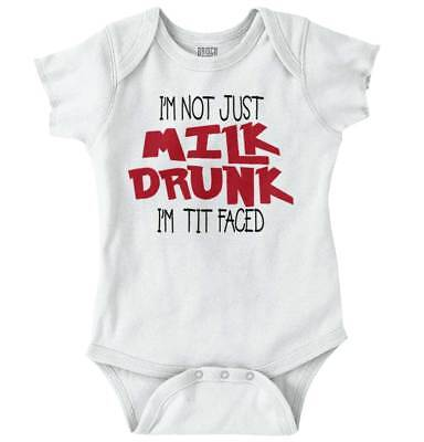 Milk Drunk Tit Faced Funny Baby Clothes | Cute Newborn Gift Romper Bodysuit