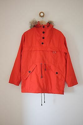 Women's Vintage Norwegian Jacket With Real Fur Trim Hood Anorak. Size 10