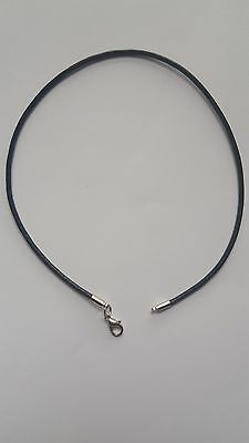 Black 2Mm Real Leather   Necklace Cord String With Lobster Clasp 12- 30 Inches