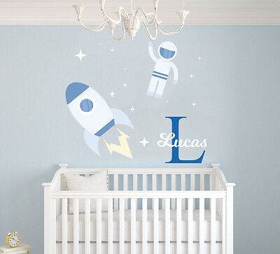 Custom Name Outer Space Rocket Wall Decal Boy Room-Mural Wall Decal For Kids