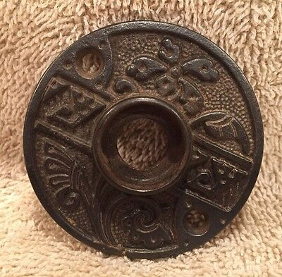 Antique Victorian Cast Iron Round Rosette Door Knob Back Plate Crafts Projects