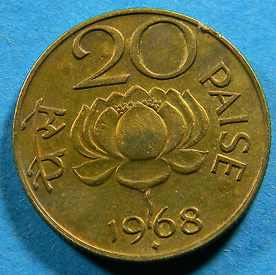 India 1968 20 Paise Coin  (lot # B-0214)