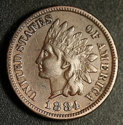1884 INDIAN HEAD CENT - With LIBERTY & DIAMONDS - XF EF