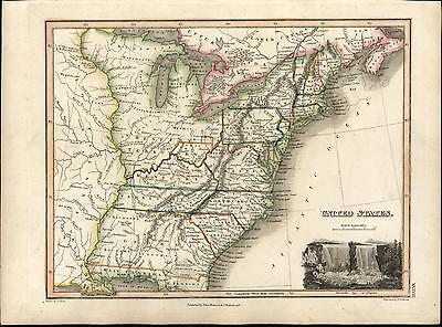 United States U.S. America Franklinia Niagara Falls 1819 Thomson antique map