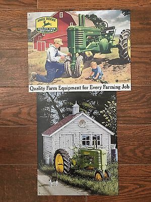 "2 John Deere Metal Signs ""Quality Farm Equipment"" ""Tractor/Well House"" 12.5""x16"""