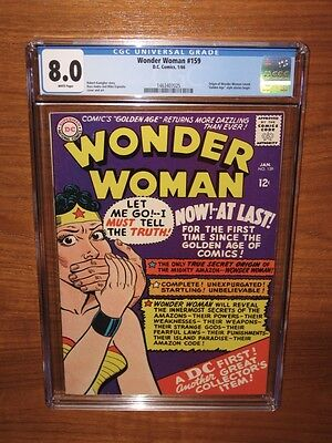 Wonder Woman #159 Her ORIGIN! CGC 8.0 WHITE pages! SUPER Packaging 12 HD pix