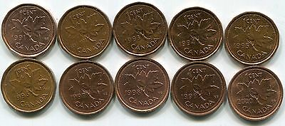 10 Canada small cents in the 90's-average condition-free shipping