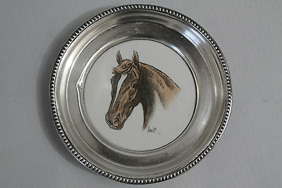 """Frank Whiting Sterling Silver Hand Colored Porcelain """"Assault"""" Racehorse Coaster"""